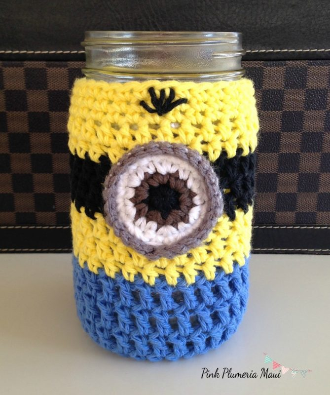 Free crochet minion cup cozy pattern manet for crochet minion girl minion mason jar cozy bankloansurffo Images