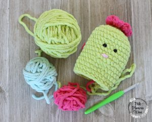Baby Cactus in process with yarn.