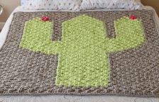 Bulky Crocheted C2C Cactus Blanket