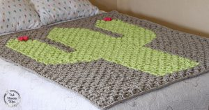 Bulky Crocheted C2C Cactus Blanket Side