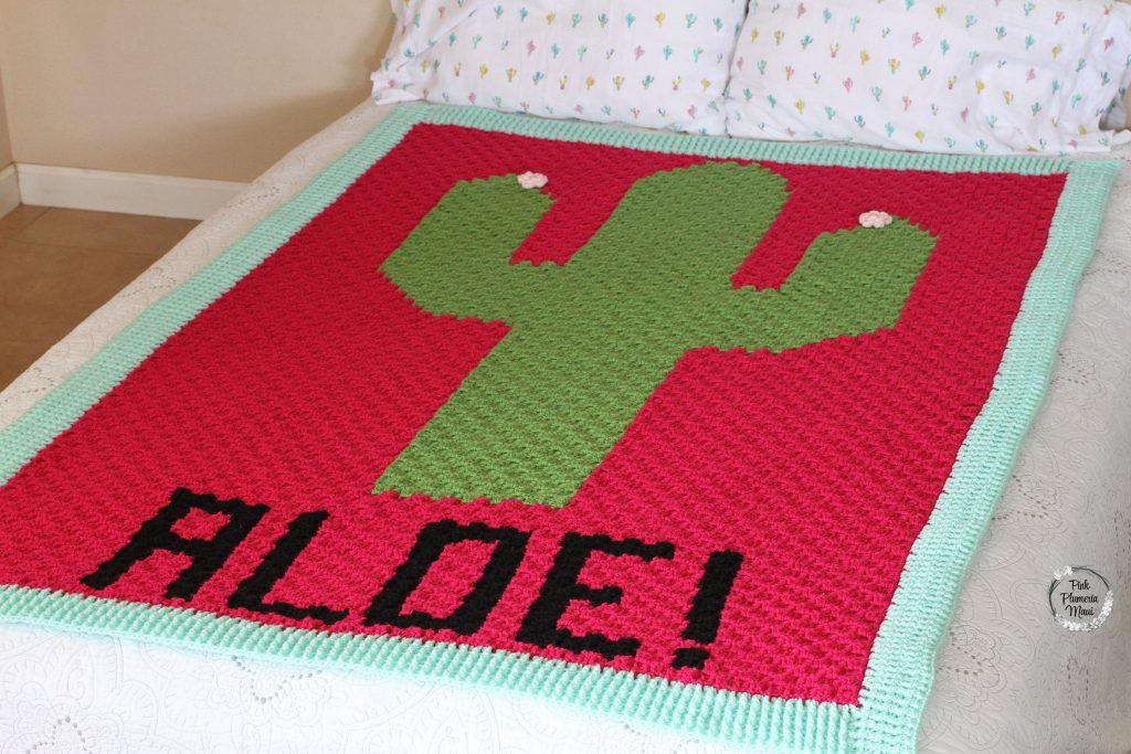 Crocheted C2C Cactus Aloe! Blanket
