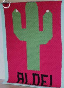 Crocheted C2C Cactus Aloe! Blanket Front