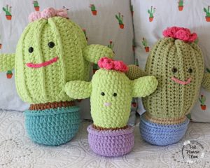 Primrose, Baby and Rosie all Plushy Crocheted Cactuses.