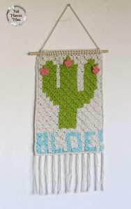 C2C Crocheted Cactus Wall Hanging