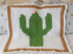 Crocheted C2C Cactus Baby Blanket