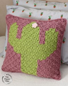 Crocheted C2C Cactus Pillow