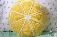 Front view of Crocheted Lemon Deco Pillow