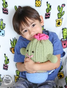 Rosie the Crocheted Plushy Cactus is very snuggly.