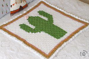 Crochet C2C Cactus Baby Blanket Side
