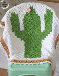 Crochet C2C Cactus Baby Blanket Display