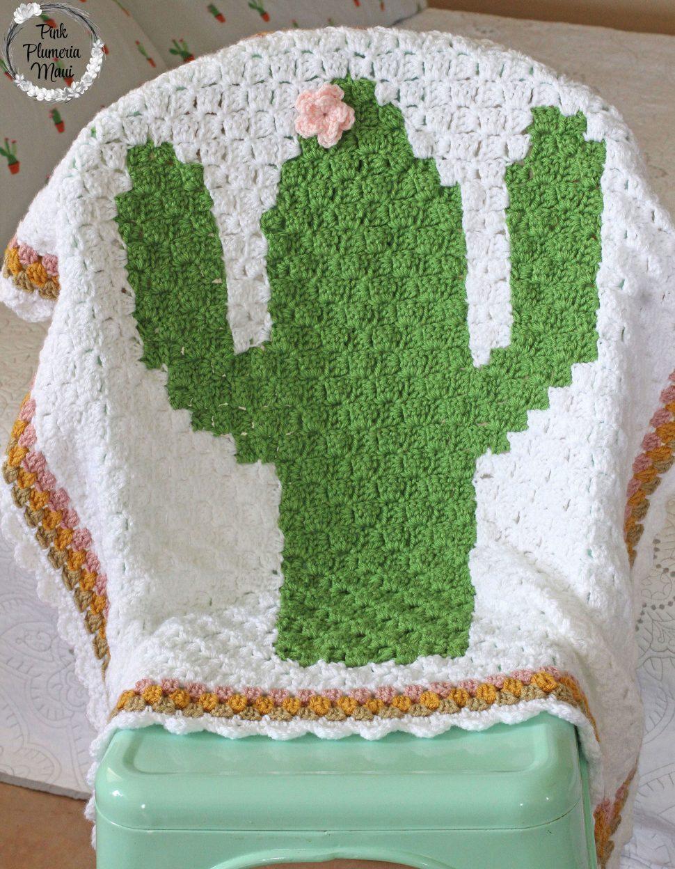 Crochet C2C Cactus Baby Blanket Display