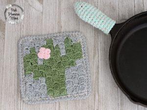Crocheted C2C Cactus Pot Holder Pattern