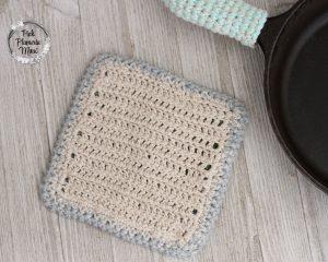 Crochet Cactus Pot Holder Back