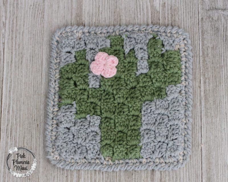 Crochet C2C Cactus Square Pattern - Pink Plumeria Maui