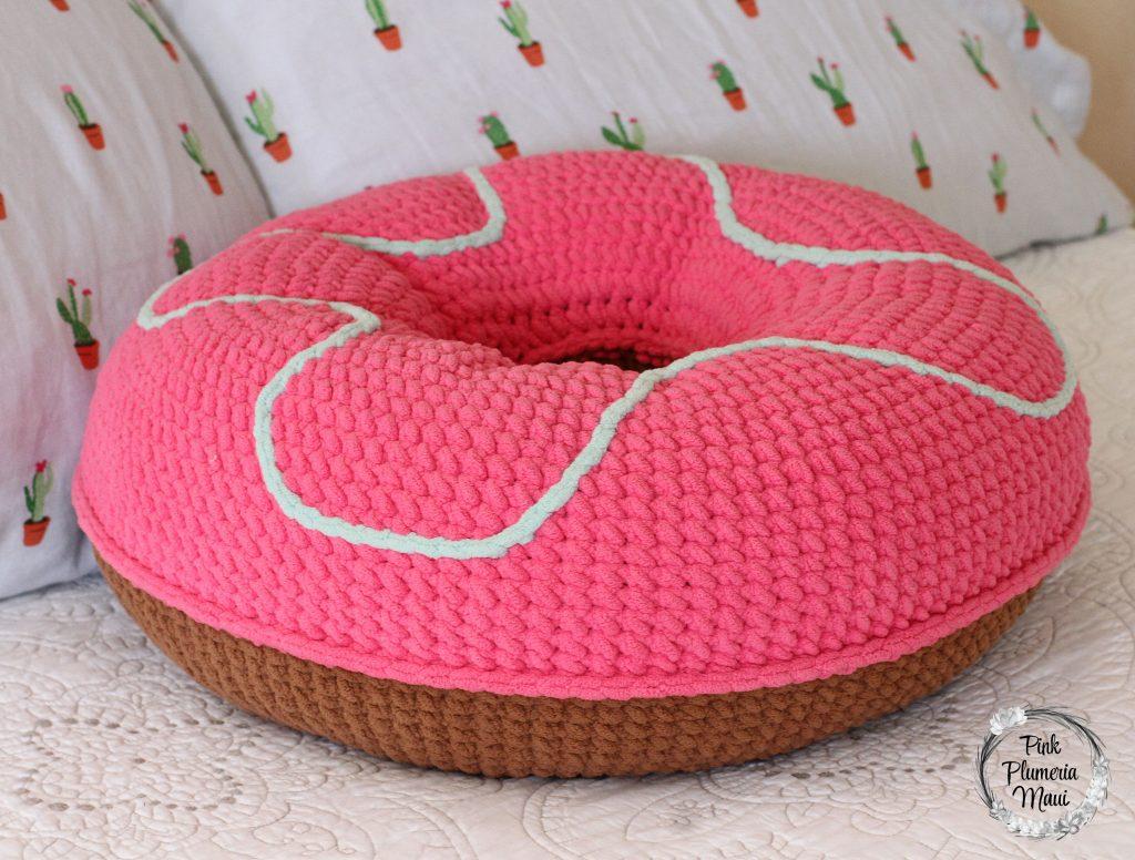 XL Crocheted Donut Pillow Pink