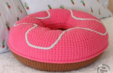 XL Crocheted Donut Pillow Pink