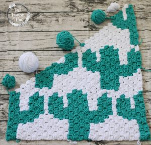 Progress Crocheted C2C Cactuses Baby Blanket
