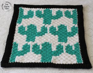 Finished Crocheted C2C Cactuses Blanket