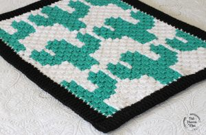 Crocheted C2C Cactuses Baby Blanket Side