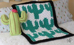 C2C Crocheted Cactuses Baby Blanket