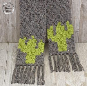 Both Sides C2C Crocheted Cactus Scarf