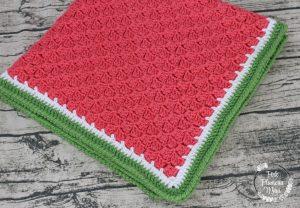 Crocheted C2C Watermelon Baby Blanket 2