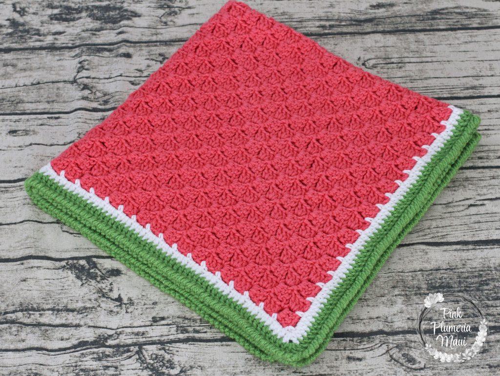 Crocheted Watermelon C2c Baby Blanket Pink Plumeria Maui